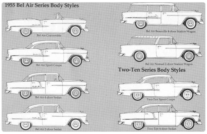 1955 Chevrolet Bel Air Series Body Styles
