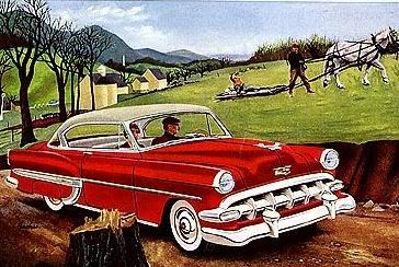 Der Chevrolet 1954 ist doch noch deutlich biederer